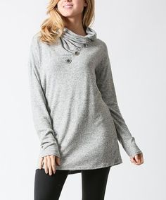 This Heather Gray Button-Detail Long-Sleeve Tunic - Plus is perfect! #zulilyfinds