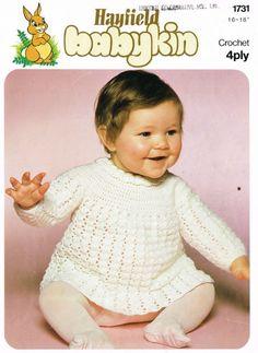 345aa3bebb6aa8 Hayfield 1731 dress baby vintage crochet pattern Vintage Crochet Patterns