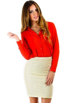 $16 at www.heavenlycouture.com Naked Zebra Sheer Button Down Open Back Blouse in Orange : Tops
