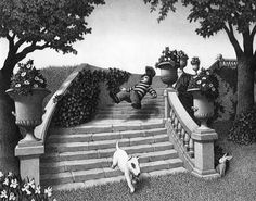 """Chris Van Allsburg - from the book """"The Garden of Abdul Gasazi"""" - (3) Alan falls and can't keep up with Fritz, who disappears into the garden. Alan is desperate to find Fritz before Mr. Gasazi finds out they've been in his garden."""