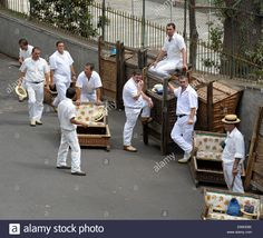 Monte Madeira Portugal Men Waiting To Take Tourists Down On The Stock Photo, Royalty Free Image: 67425755 - Alamy