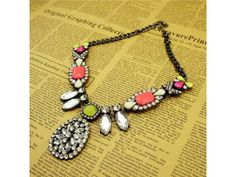 Colorful Neon Crystal #Necklace