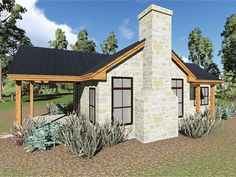 This one-bedroom cottage makes a great getaway home for a couple, or perhaps an in-law unit on a larger property. The stone-wrapped fireplace flanked by windows forms the focal point of the great room. Double barn doors create a chic entrance to the bedro Cottage House Designs, Cottage Style House Plans, Cottage Style Homes, Country House Plans, Tiny House Plans, Cottage Design, House Floor Plans, Tiny Cottage Floor Plans, Small House Plans Under 1000 Sq Ft