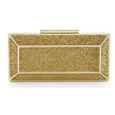 Bcbg Maxazria Gold Crystal Embellished 'Grace' Clutch ($250) ❤ liked on Polyvore featuring bags, handbags, clutches, gold, brown handbags, gold metallic handbags, metallic purse, metallic handbags and gold purse
