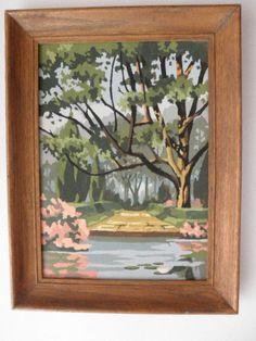 Vintage 60s PAINT By NUMBER garden pond park by junquedujour, $24.95