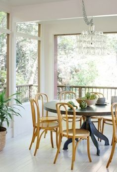 I love this dining space with all the windows!  The Treehouse: The Living Room