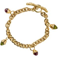 Gold Rolo And Cabochon Charm Bracelet 1 Bangles Jewelry Fine