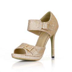 Pumps - $58.99 - Sparkling Glitter Stiletto Heel Sandals Platform Peep Toe With Buckle shoes (085022636) http://jjshouse.com/Sparkling-Glitter-Stiletto-Heel-Sandals-Platform-Peep-Toe-With-Buckle-Shoes-085022636-g22636