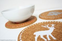 DIY Holiday Cork Trivets by Design, Dining, Diapers Christmas Gifts For Boys, Handmade Christmas Gifts, Simple Christmas, Holiday Crafts, Christmas Crafts, Christmas Decorations, White Christmas, Christmas Ideas, Christmas Coasters