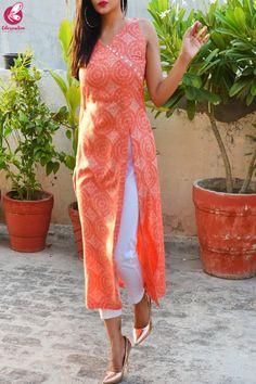 Orange & White Printed Modal Rayon Kurti with White Cotton Silk Pants Simple Kurta Designs, Silk Kurti Designs, Salwar Neck Designs, Kurta Neck Design, Fancy Blouse Designs, Kurta Designs Women, Dress Neck Designs, Kurti Designs Party Wear, Saree Blouse Designs