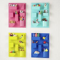 Kids Storage: Colorful Iron Wall Organizers in Shelf