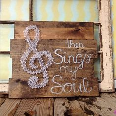 $44 Etsy String Art Treble Clef on Stained Wood Sign with Then Sings My Soul by NailedItDesign.etsy.com