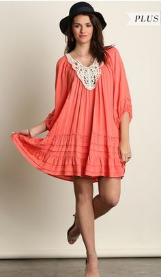 Gracie Coral Tunic Top - Plus Size
