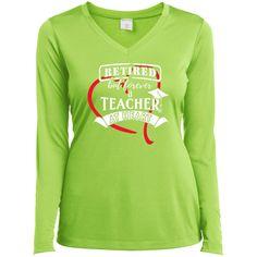 Teacher At Heart - Ladies Long Sleeve V-Neck
