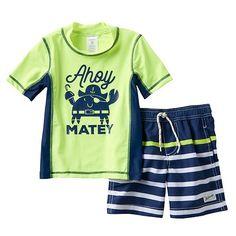 "Toddler Boy Carter's ""Ahoy Matey"" Pirate Crab Rashguard & Swim Trunks Set"