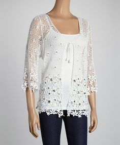 This White Jewel Crocheted Short-Sleeve Cardigan - Women by IRE is perfect! #zulilyfinds