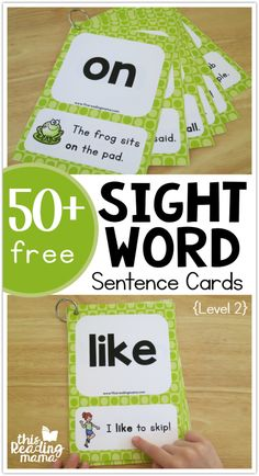 Sight Word Sentence Cards {Level - This Reading Mama 50 Free Sight Word Sentence Cards - Level 2 - Dolch P + Fry Sight Word Sentences, Teaching Sight Words, Sight Word Practice, Sight Word Activities, Preschool Sight Words, Sight Word Flashcards, Dolch Sight Words, Reading Activities, Kindergarten Sight Word Games