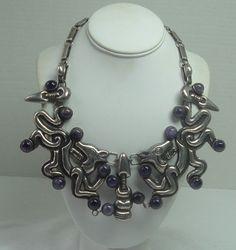 Vintage Necklace   William Spratling. 'Jaguar'.  Sterling silver and amethyst.