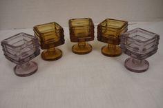 5 Antique Salt Cellars Square Glass Pedestal Gold Amethyst | eBay