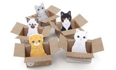 Animalistic Sticky Notes - These Cutesy Cat Pads are Designed to Look to Kittens in Cardboard Boxes (GALLERY)