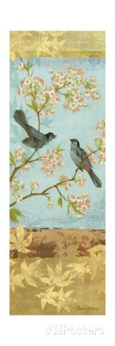 Catbirds and Blooms Panel Giclee Print by Pamela Gladding at AllPosters.com