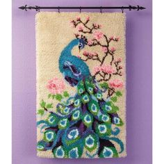 Peacock Blossoms Latch Hook Kit - Herrschners