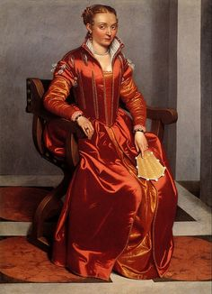 Giovanni Battista Moroni, Portrait of a Lady (La dama in rosso), perhaps Contessa Lucia Albani Avogadro. c1557-1560 [NG.London]