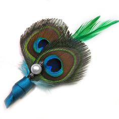 Peacock wedding green peacock feather pin corsage or by Rationale