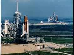 The rare sight of 2 shuttles on the launch pads.