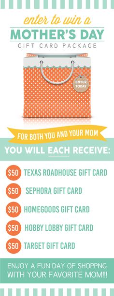 Win a Mother's Day gift card package for you AND one for your mom!  $500 value! www.TheDatingDivas.com