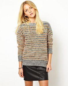 Pull en tricot à rayures texturées Asos