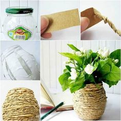 How to DIY Kraft Paper Decorated Flower Vase | iCreativeIdeas.com Like Us on Facebook == https://www.facebook.com/icreativeideas