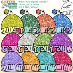 Winter Hats Clip Art Dipped in Glitter by Glitter Meets Glue Designs #winter #clipart #teacherspayteachers