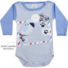 Body Bebê Menino Dog Manga Longa Azul - Patimini :: 764 Kids | Roupa bebê e infantil