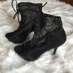 """Bertinni Lace Up Bootie. NWOT Bertinni Black Lace Up Booties. These are the cutest boots. 5 1/2"""" inch Heel. Brand New. ‼️NWOT ‼️Doesn't Come With A Box.  No Pay Pal  No Trades  Bertinni Shoes Lace Up Boots"""
