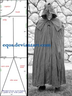 Pattern: Cloak with Capelet by eqos  Minus hood and caplet, great simple cloak pattern for beginners (or if you need to absolutely get the most cloak possible from limited fabric, so you don't want to do the usual curves).
