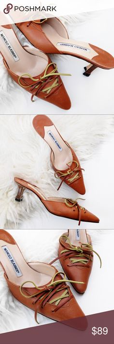 Manolo blahnik lace up heel Super chic! One heel tap needs a bit of adjustment but overall great condition! No trades. Always open to offers. All photos are of actual item Manolo Blahnik Shoes Heels
