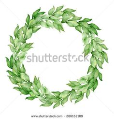 Vector bay leaves watercolor wreath. Template for wedding invitation and save the date cards.