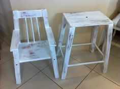 Vintage White Highchair. Stack them on to of each other to make the Highchair.