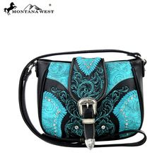 Made of Vegan leather, this messenger handbag has: - Silver belt-buckle on the flap with magnetic closure - Tooled background with embroidered boot scroll - Silver embellishments, crystals with whipst