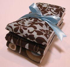 Premium 6 Ply Burp Cloth Set of 3 - Baby Boy Browns and Blues. $13.50, via Etsy.