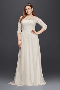 Plus Size Tulle Wedding Dress with Sheer Sleeves Style 4XL9WG3817