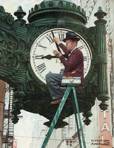 """Clock Repairman"" by Norman Rockwell Painting Print on Canvas"