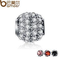 4 Colors Silver Plated Sparkling Round Clear CZ Charm Fit Bracelet Necklace Original Charm Accessories PA5280