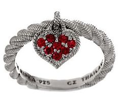 Judith Ripka Sterling Pave Diamonique Textured Heart Dangle Ring