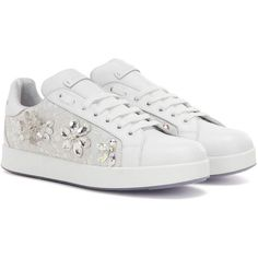 Dolce & Gabbana Embellished Leather Sneakers (111.395 RUB) ❤ liked on Polyvore featuring shoes, sneakers, white, decorating shoes, embellished sneakers, leather shoes, white shoes and embellished shoes