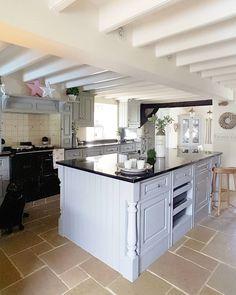 Bespoke wooden kitchen Shadow grey... Pewter Aga Home accessories West Barn Interiors Country Kitchen Grey kitchen