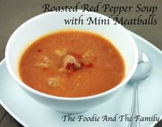 roasted red pepper soup with mini meatballs