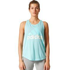 Women's Adidas Essential Linear Logo Tank, Size: Medium, Light Blue