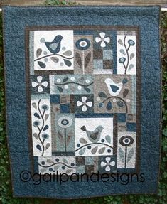 Fabric Patch Flowerdale - by Gail Pan Designs -Stitchery PatternSECONDARY_SECTIONFlowerdale Stitchery Patchwork patterns by Gail Pan Designs Completed size x Wool Quilts, Lap Quilts, Panel Quilts, Small Quilts, Mini Quilts, Wool Applique Quilts, Primitive Quilts, Quilting Projects, Quilting Designs